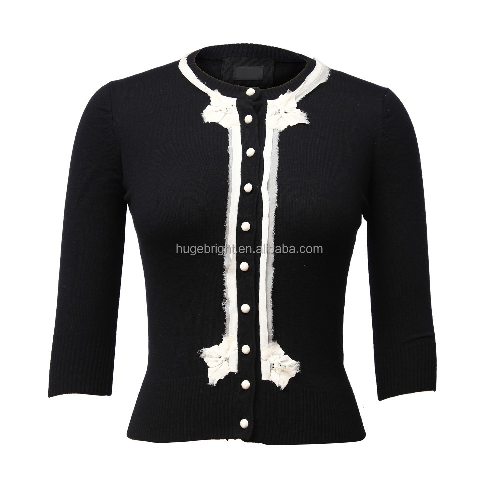 Cashmere and silk ladies cardigan with contrast trims and full buttons