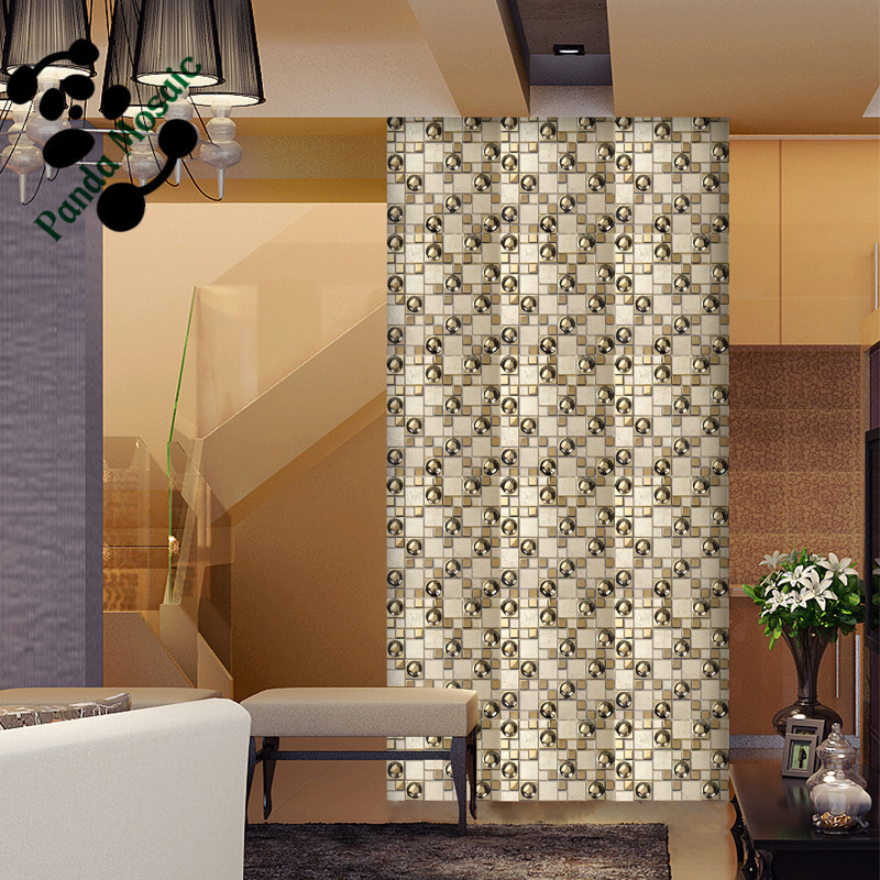 Mb smg03 special shape design luxurious golden mosaic for Large glass wall tiles