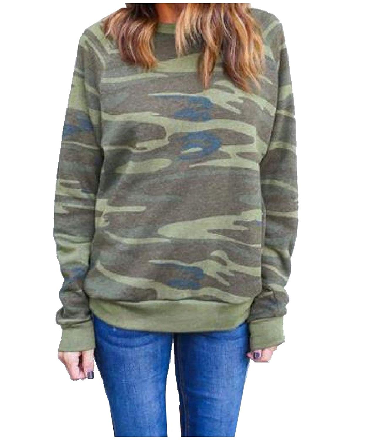 Sheng Xi Womens Outdoor Camouflage Printed Crewneck Sweater Pullover
