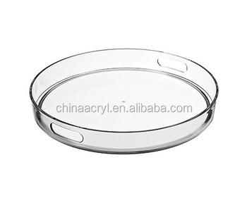 large clear round tray with color print acrylic round serving tray