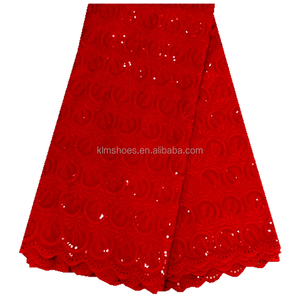 Red african swiss voile lace high quality sequins embroidery lace fabric nigerian mesh lace for wedding dress fabric