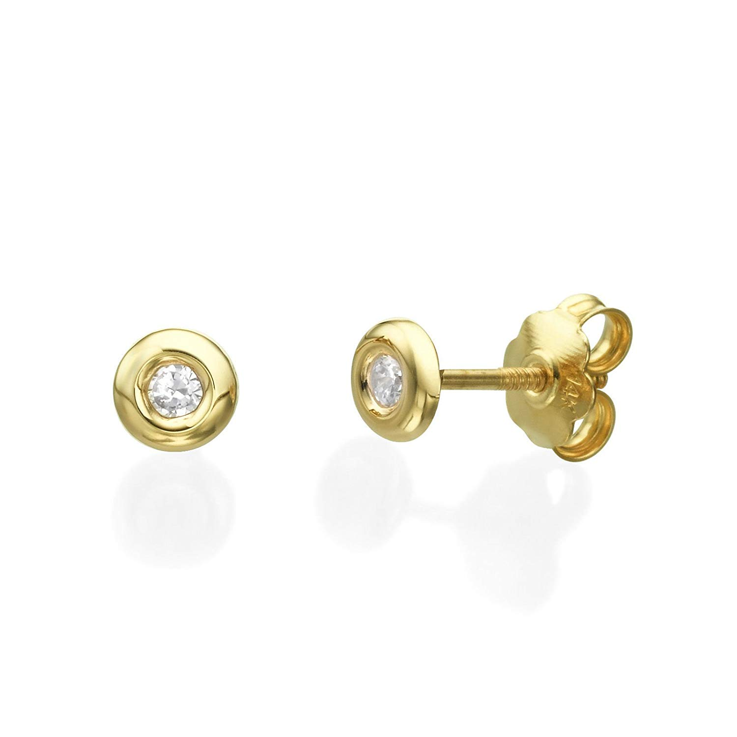 e7e977ca3 Get Quotations · 14K Solid Yellow Gold Cubic Zirconia Round Screw Back Stud  Earrings for Baby Girls Kids Children