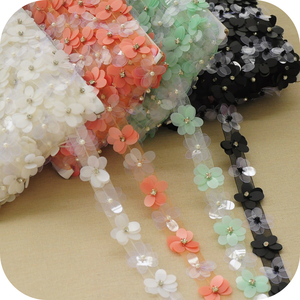 2.5cm Fashion exquisite accessories multi color 3D plastic flower lace trim sequined beads lace ribbons for DIY clothing S484