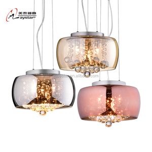 Modern Glass Lantern Shade Crystal Glass Pendant Light G9 Base Home Decor
