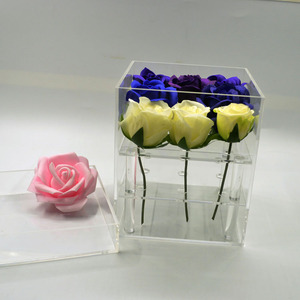 fresh flower wrapping acrylic waterproof boxes for roses packaging