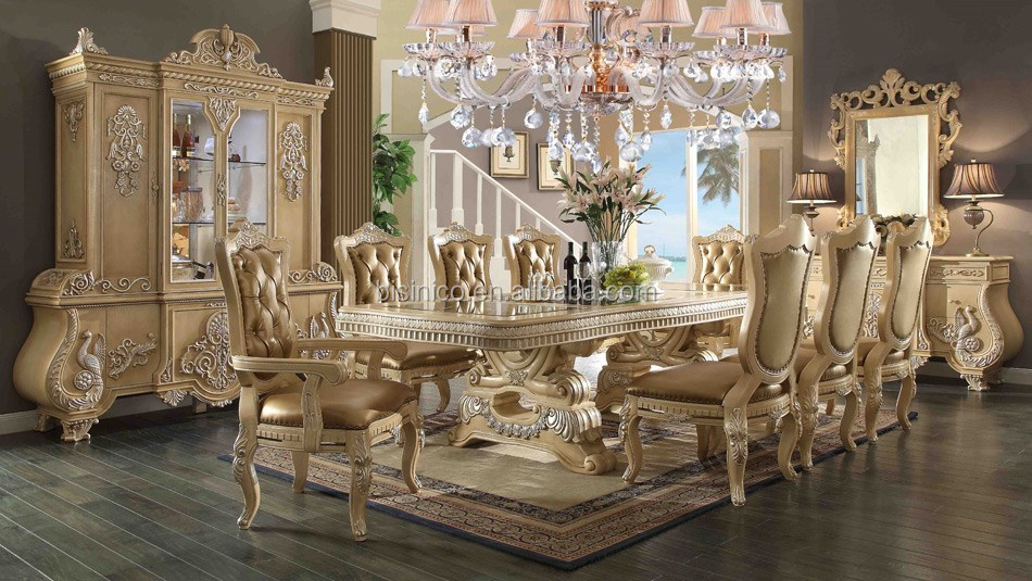 Italian royal style wooden hand carved dining room for A t design decoration co ltd