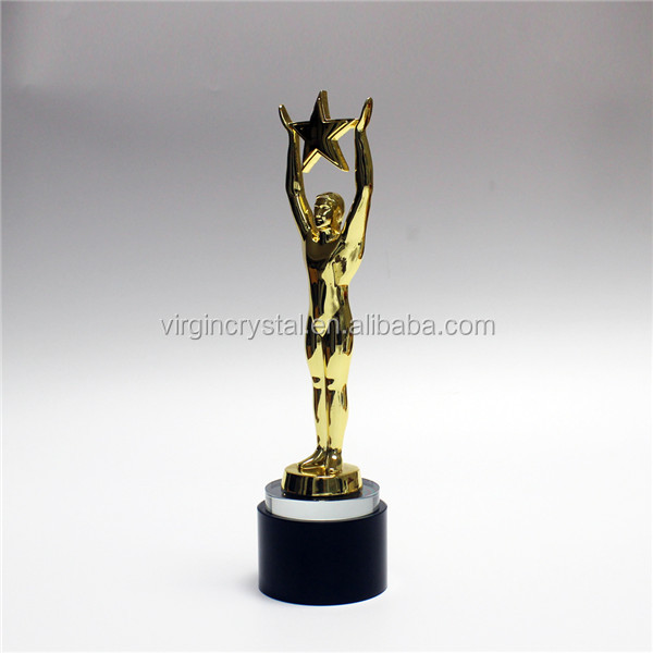 New unique design metal golden human star trophy awards with crystal base for promotion