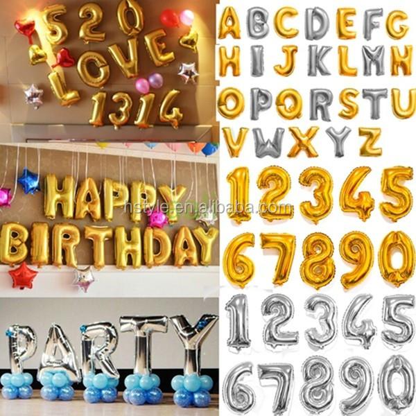 16 Sliver Alphabet Letters Number Helium Balloons Birthday New
