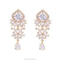 LZESHINE Solid Gold Plated Victorian CZ Diamond Celebrity Chandelier Earring Fashion C-BRER0036