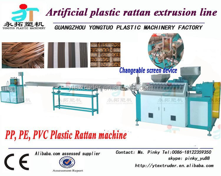 Cheap price high efficient PP/<strong>PE</strong>/PVC plastic imitation rattan machine/rattan production machine