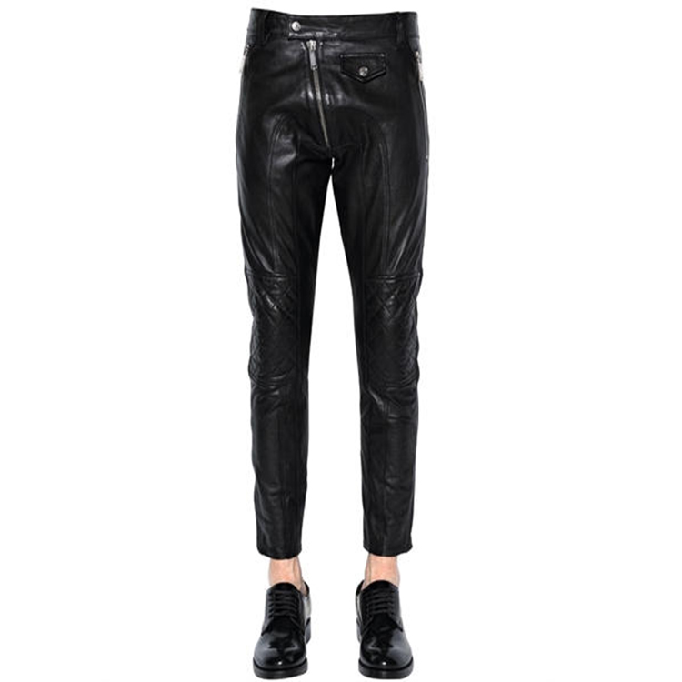 Quilted knees Ribbed side bands 15CM Leather Biker Pants