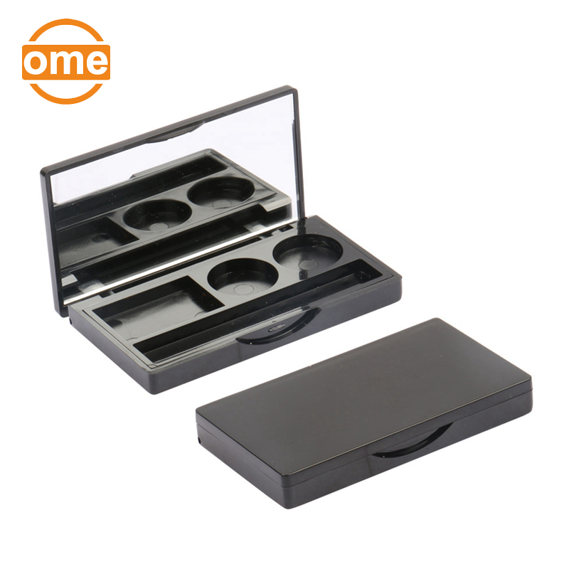 Fashion design unique empty plastic eyeshadow cosmetics palette packaging with mirror and slot