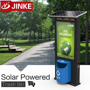 Solar Power LED Ligthing Box And Electronic Screen Trash Can Bin Garbage