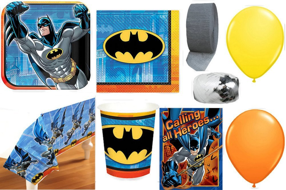 Batman Party Supplies for 16 guests Party Pack Includes Invitations, Table Cover, Cups, Napkins, Plates, Curling Ribbon, Streamer, and Balloons - Bundle Includes 108 Items