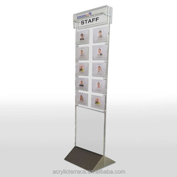 Acrylic Perspex Floor Standing Staff Photo Boards - Customize This Product  - Buy Floor Standing Display Board,Multi Pocket Wall Boards,Acrylic Notice