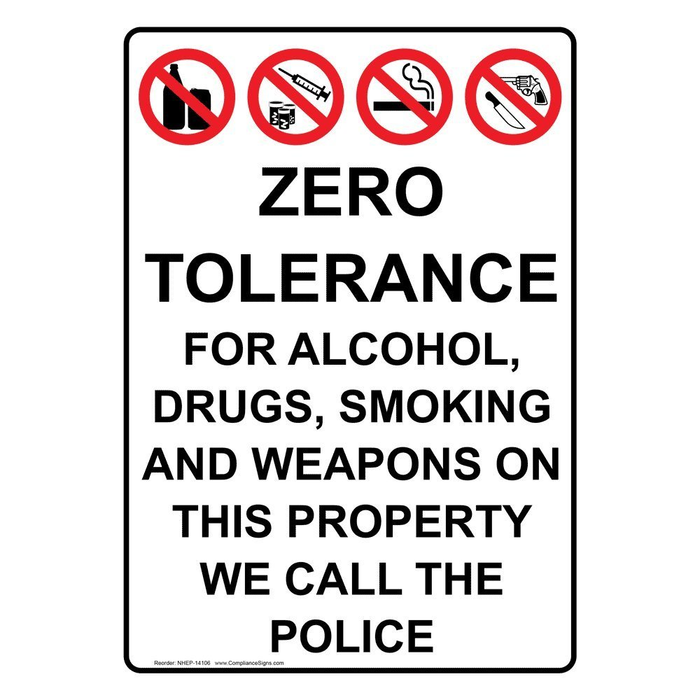 Buy Compliancesigns Vertical Vinyl Zero Tolerance For Alcohol
