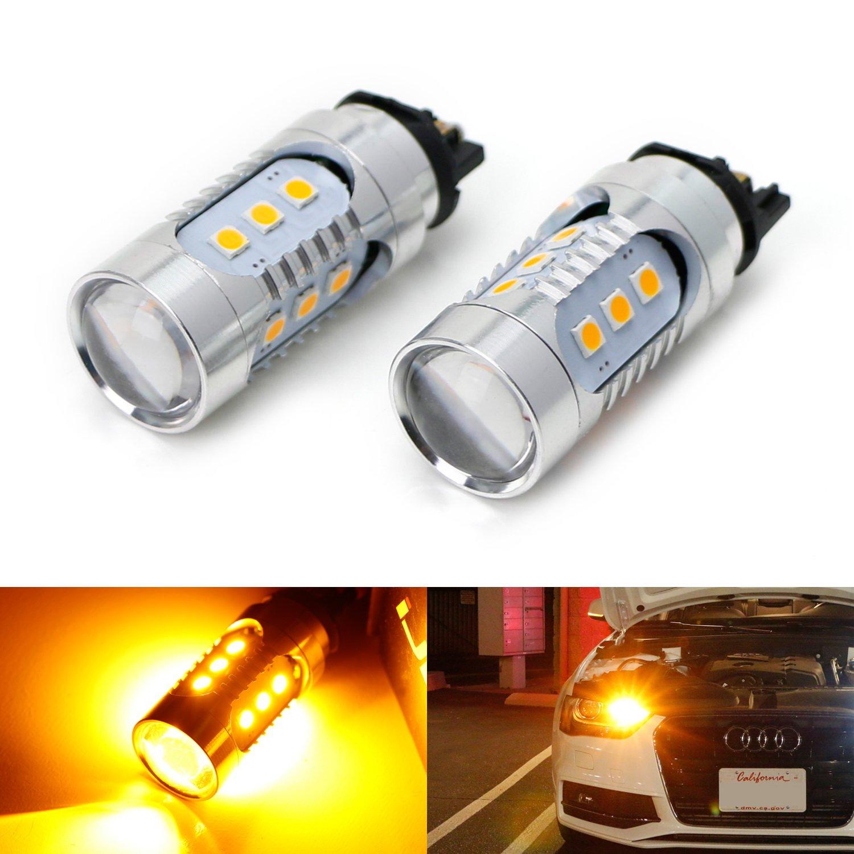iJDMTOY (2) Amber Yellow CAN-bus PWY24W LED Bulbs For Audi A3 A4 A5 Q3 Q7 BMW i3 MINI Cooper F55 F56 Mercedes C-Class, GLK GLC Front Turn Signal Lights