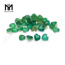 Wholesale gemstone price heart cut green color natural agate stone