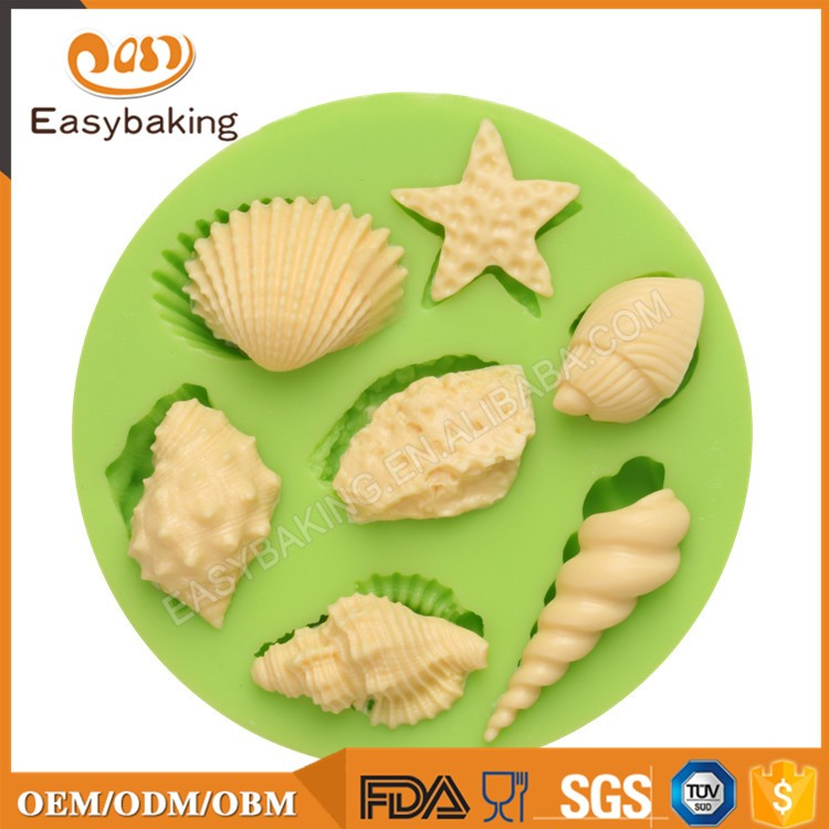 ES-0509 Animal Mould Assorted Sea Star Seashells Fondant Silicone Molds for cake decorating
