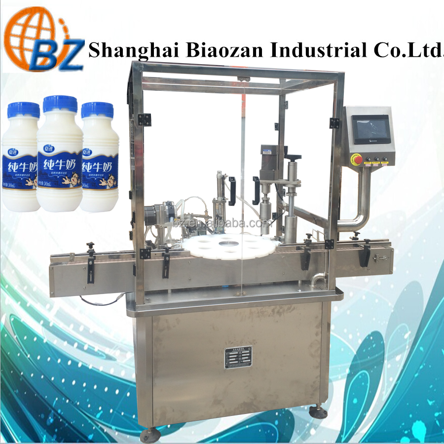 Milk, juice glass bottle filling capping machine