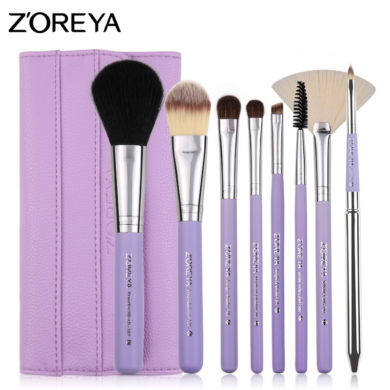 Beauty color brush set makeup brush material 8piece for travelling Z'oreya make up brush set