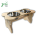 Bone Shaped Wood Dog Bowl Stand for Medium, Large Dogs Rustic Natural, Wooden Feeder Dish Holder U