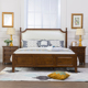American style leather bed head king size wax wood bed