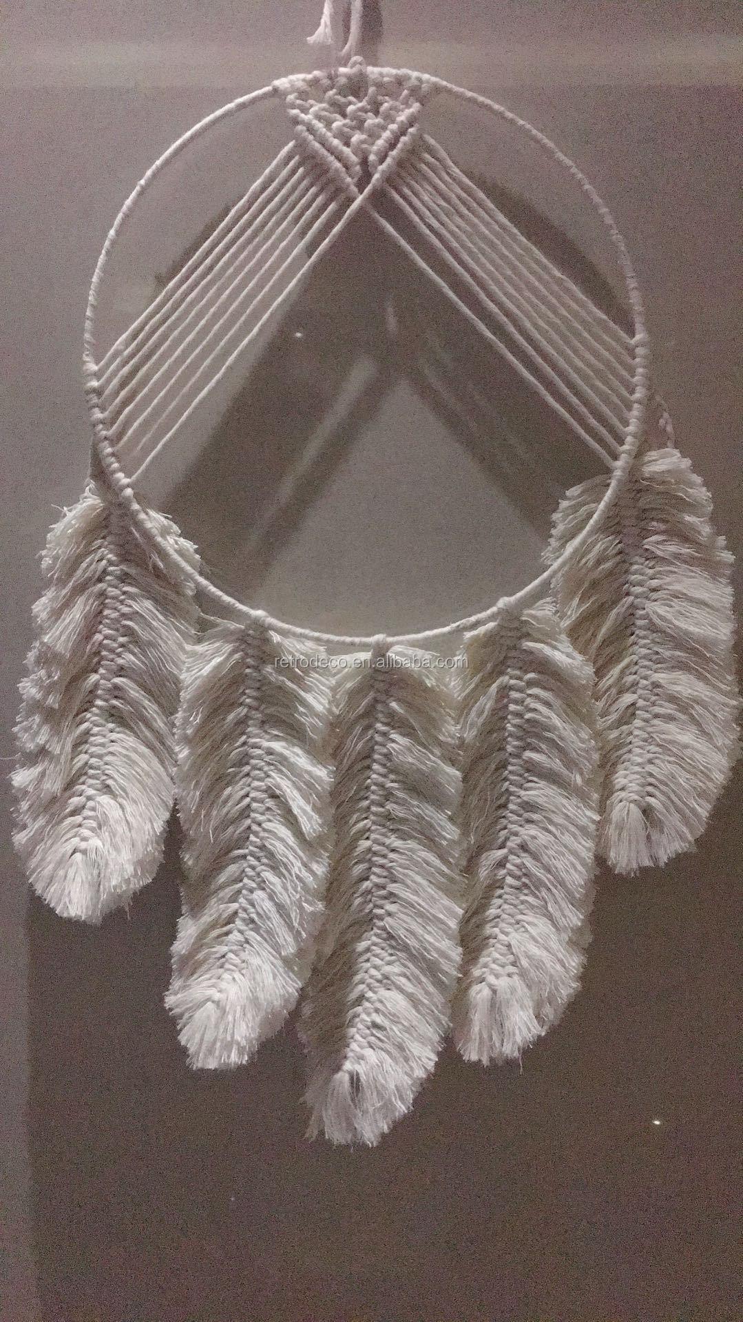 RT19042 Algodón hecho a mano decoración Boho Chic estilo Macrame pluma
