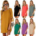 Latest Style Knotted Popular Elegant Fashion Round Neck Cloths Dress Woman