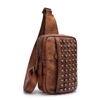 Men Messenger Bags Handmade Genuine Leather Travel Pouch Hold Net Studded Shoulder  Bags Women  Men 2f6f769d2042b