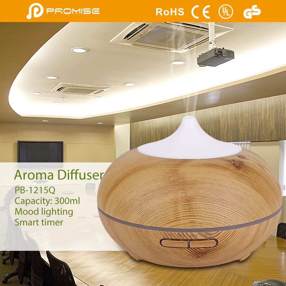CE RoHS approved decorative ultrasonic wooden aroma diffuser essential oil humidifier
