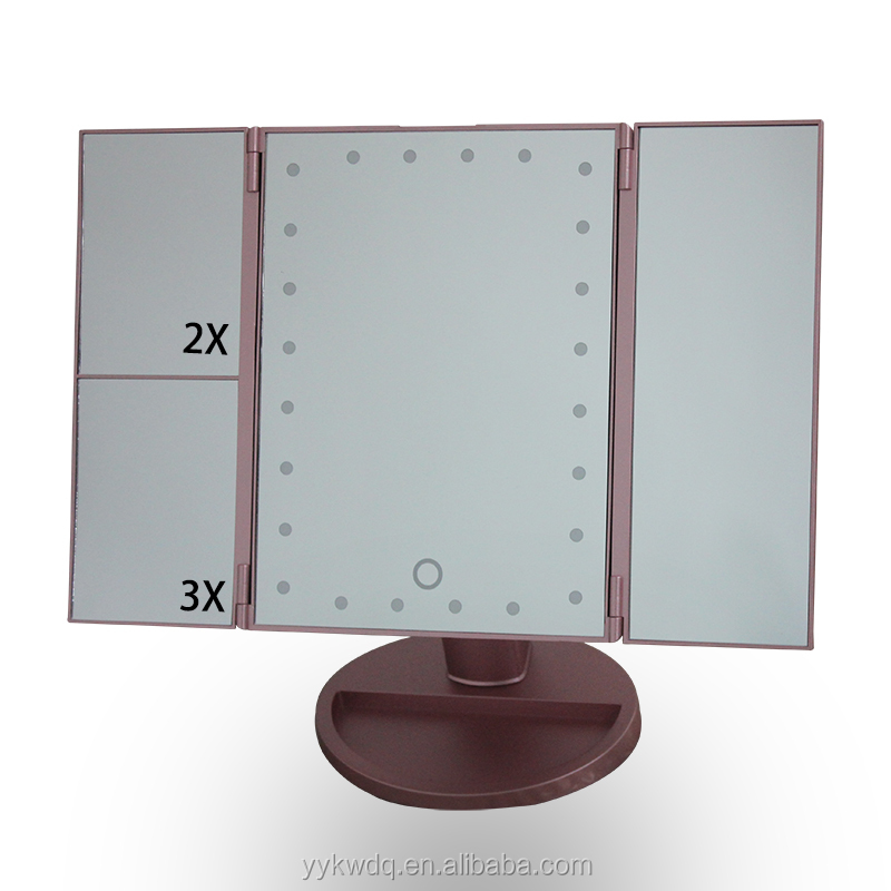 Rose Gold Tri Fold 24 Led Makeup Mirror With Stepless