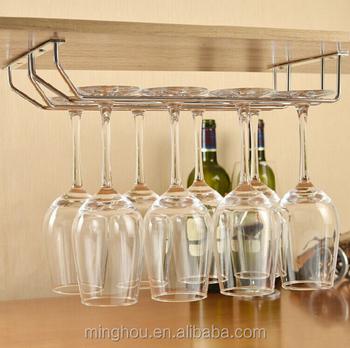 Electroplating Metal Wine Glass Rack Hanging Glass Holder Under