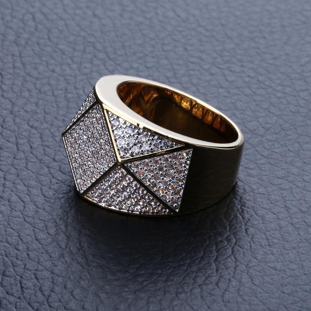 Hip Hop Jewelry For Birthday Gift Micro Paved Zircon Gold Silver Men's Two-color Rib Ring