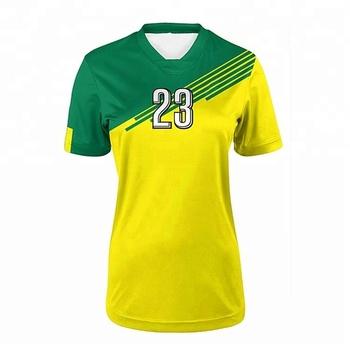 949b53ffdd49e Único sublimación verde amarillo kit fútbol soccer jersey con el logotipo  de diseño personalizado