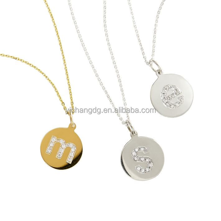 Manufacturer wholesale cheap initial disc personal letter female necklace