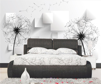 3d Black And White Dandelion Wallpapers For Home Interior Decoration