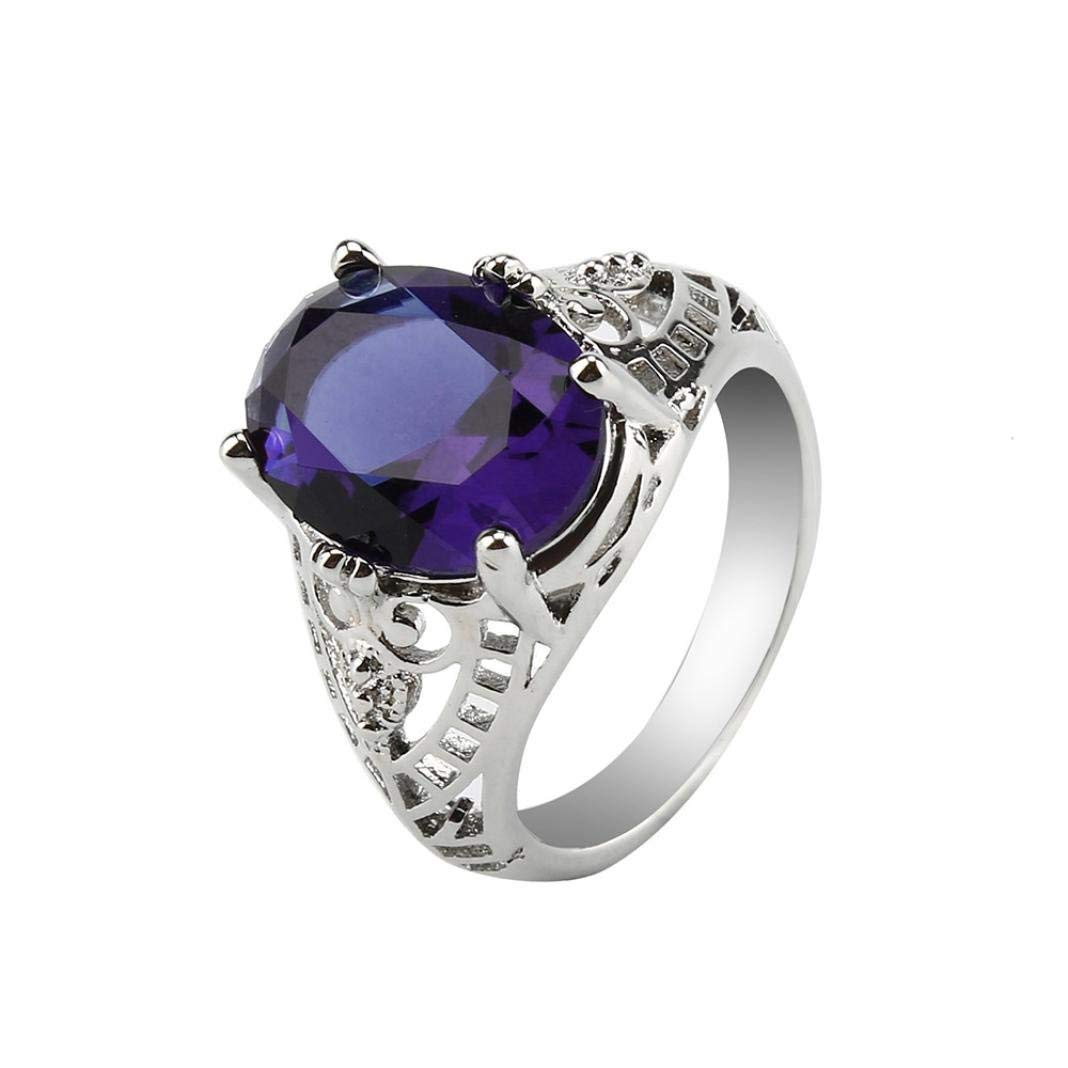 Challyhope Hot Sale! Fashion Wedding Ring For Women Oval Created Amethyst Sapphire Zircon Plated Silver Hallow Engagement Rings Jewelry (Purple, 10)