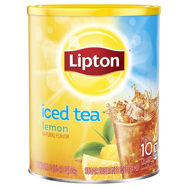 Lipton Black Iced Tea Mix, Lemon,25.1 Ounce (Pack of 6)