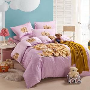 Puppy Kiss Kitty Pink Bedding Duvet Cover Set Cartoon Bedding Kids Bedding Girls Bedding Teen Bedding Gift Idea, Queen Size
