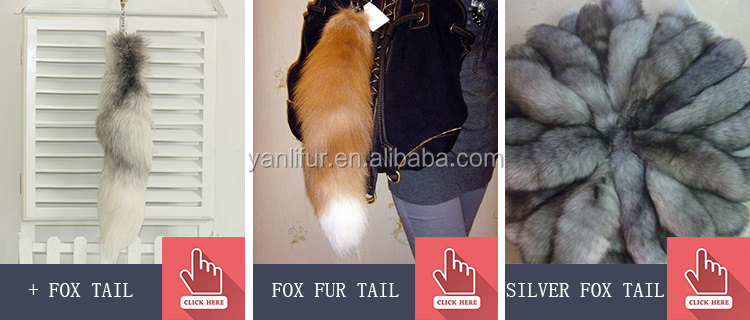 Real Fur tail /Fluffy Fox Fur Ball For Keychain Bags Charm