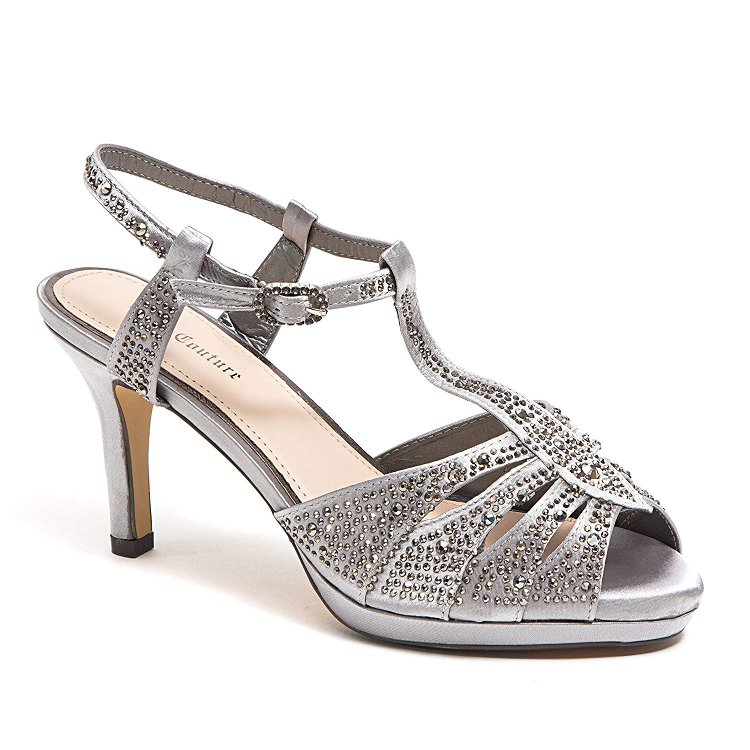 d463971440f2 Get Quotations · Lady Couture Women s Wide Width Dressy Sandals with  Rhinestone