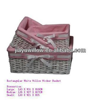 New Arrival 100% Handmade Nature Corner Wicker Storage Basket With Fabric