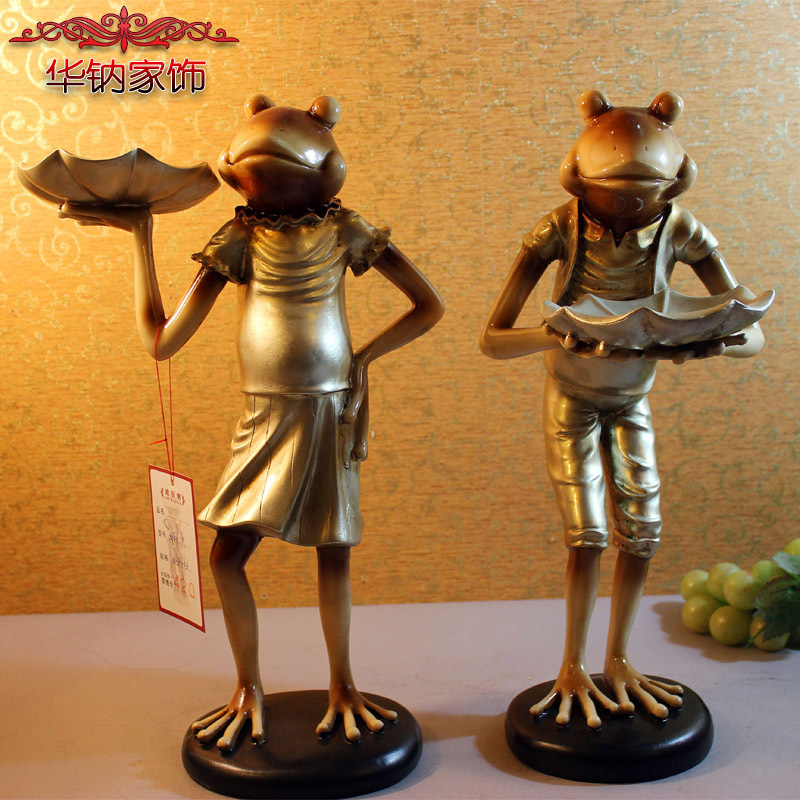 The French wind old high-grade resin decoration frog cartoon study Home Furnishing ornaments