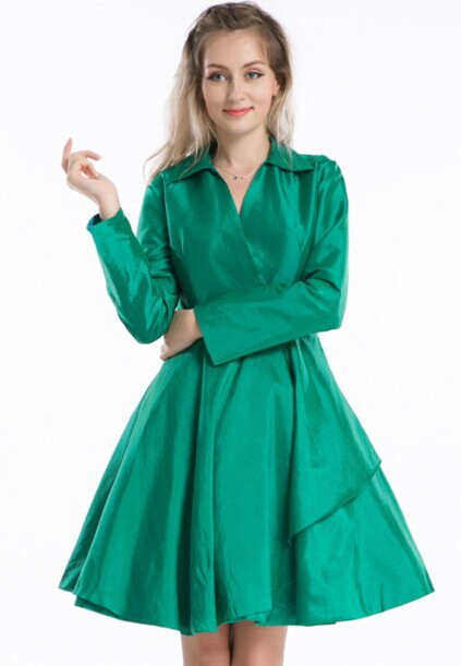 220b0fdb2ff Get Quotations · Free shipping women full sleeve green solid Swing 1950 s  pinup Dress Vintage Rockabilly retro style R1189