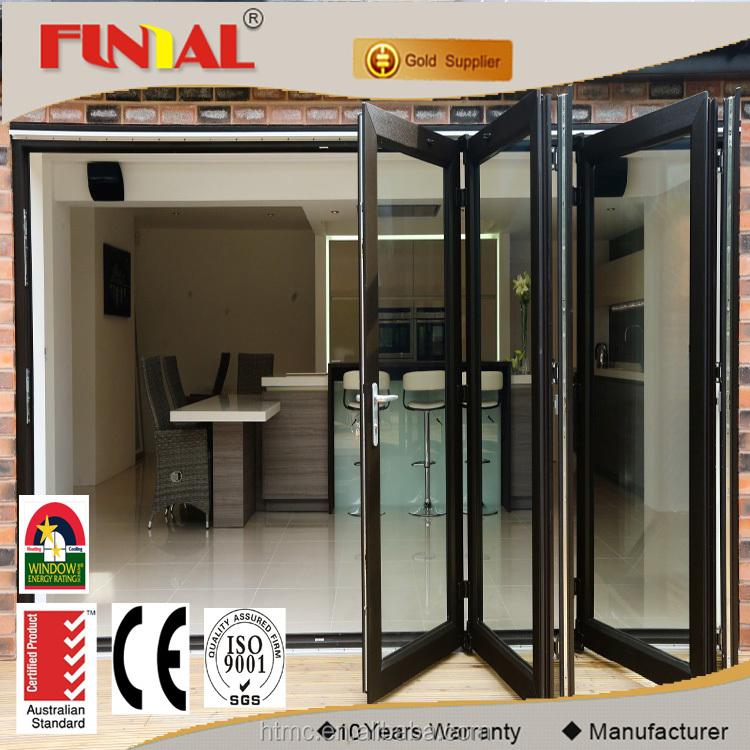 china fornecedor utilizado exterior bi porta sanfonada de vidro moldura de alumnio com tela de mosquito