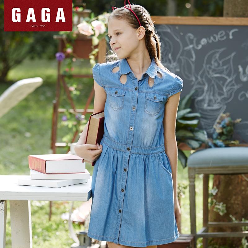 Gaga Brand Original Design 2016 Summer Girls Dress Denim Straight Children s Clothes With Pockets 7