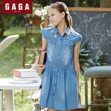 Gaga Brand Original Design 2016 Summer Girls Dress Denim Straight Children's Clothes With Pockets 7 – 16 Years Old Wear