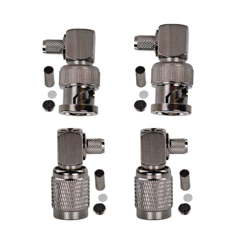 Eagles(TM) 2Pcs BNC Male Plug Right Angle Crimp With 2Pcs TNC Male Right Angle Crimp for RG58 RG400 RFC195 RF Coax Adapter connectors