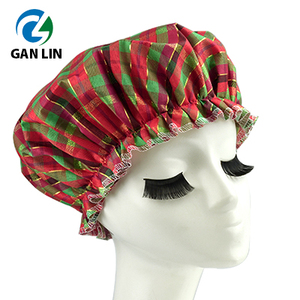 Christmas red grid pattern double layer shower cap